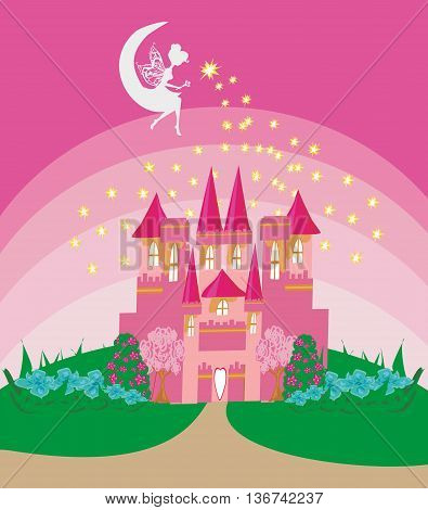 Magic Fairy Tale Princess Castle , vector illustration