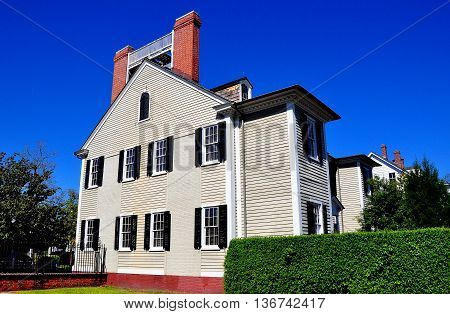 New Bern North Carolina - April 24 2016: Wooden gray clapboard 1835 Dixon House at Tryon Palace *