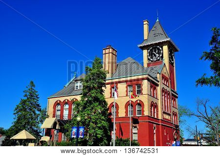 New Bern North Carolina - April 24 2016: Swiss-inspired 19th century City Hall with clock tower *