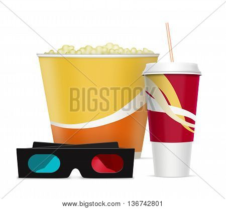 Three dimensional glasses with popcorn and soda drink
