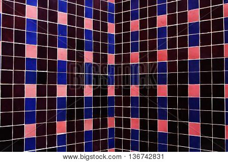 Walls in colorored mosaic pink, rose and blue