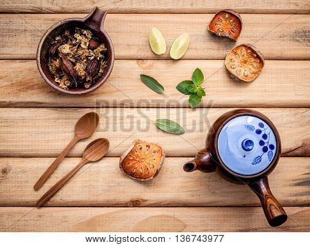 Herbal Tea Pot With Fresh Herbs Sage ,peppermint ,dried Indian Bael, Dried Chrysanthemum And Lime Sl