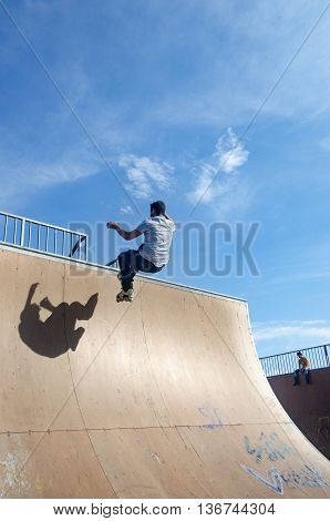 Istanbul Turkey - June 4 2016: Avcılar Skatepark. In the area of 2000 square meters skatepark young skaters under the blue sky seems almost like flying.