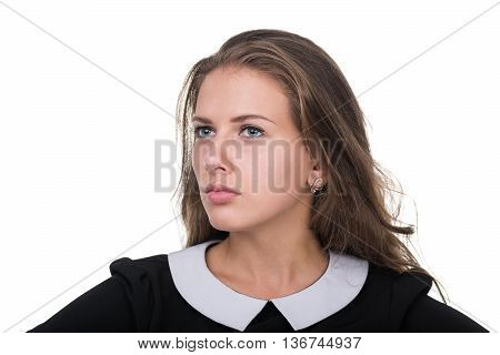 Closeup portrait of sad and depressed woman isolated on white studio shot