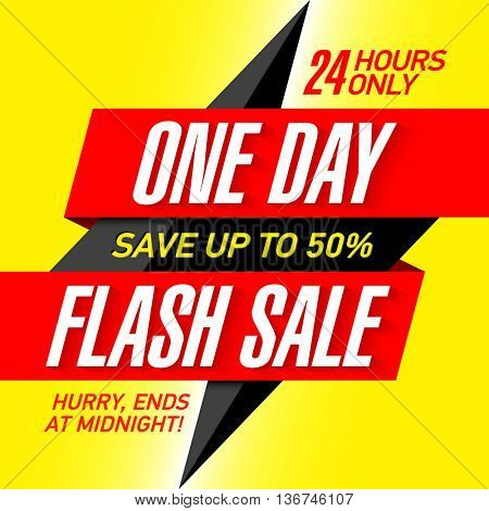 One Day Flash Sale banner template. Save up to 50%.