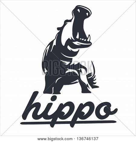 Hippopotamus design, suitable for icons, buttons, print, and more