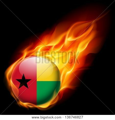 Flag of Guinea-Bissau as round glossy icon burning in flame