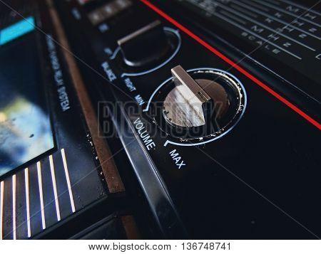 Old tape recorder play cassette audio vintage retro volume sound 80s 70s