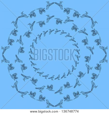 Frames with crows. Vintage round frame of crows in various poses.