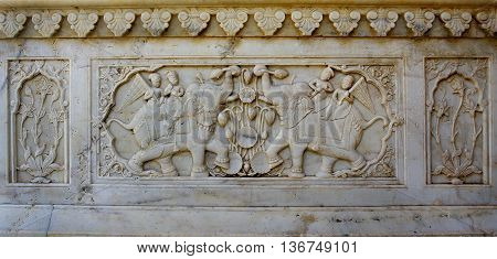 Detail Of Carved Relief At Gatore Ki Chhatriyan In Jaipur, Rajasthan, India.