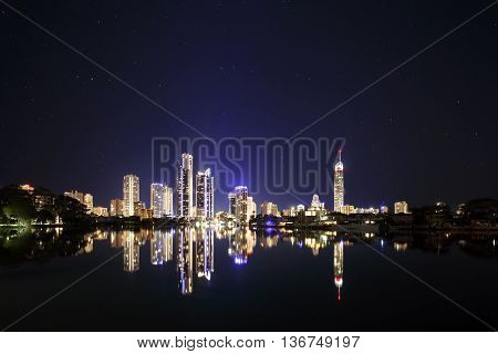 Surfers Paradise, Australia - June 7, 2016: Gold Coast's entertainment and tourism center is well known for the high-rise buildings that shape the city's skyline