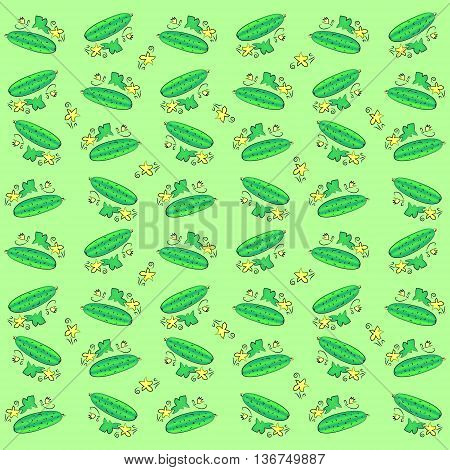 Cucumbers. Background or pattern of a young short cucumbers with leaves.