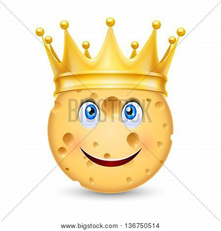 Golden crown on the head of cheese with smiling face