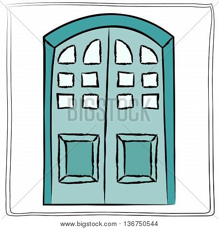 Old door icon isolated illustration vector. Close up wooden door with simple design