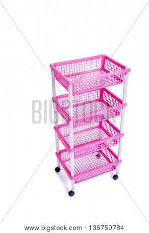 Pink bin rack shelf with wheels isolated on white