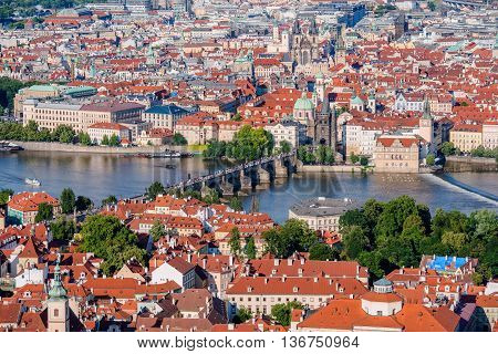 Prague City Center with Charles Bridge Karluv Most and Vltava River. Prague Old Town Cityscape