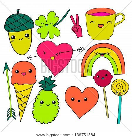 cute hand drawn neon doodle collection vector illustration coffee, arrow, ice cream, heart, rainbow, clover, love, acorn, lollipop candy pineapple isolated on white background for embroidery patches