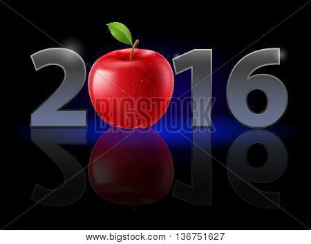 New Year Twenty-Sixteen: metal numerals with red apple instead of zero having weak reflection