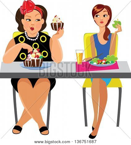 funny picture of two women at table eat, different diet