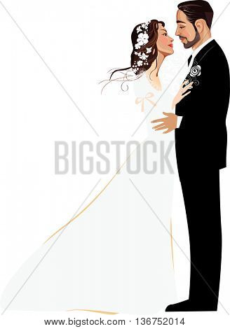 bride and groom to profile