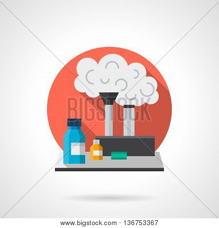 Chemistry and biology laboratory workplace. Jars, flasks tubes with reaction. Education and science research concept. Round detailed flat color style vector icon. Web design elements.