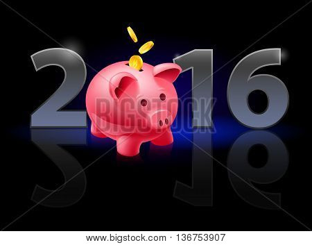 New Year 2016: metal numerals with piggy bank instead of zero having weak reflection