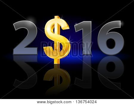 New Year 2016: metal numerals with USA dollar instead of zero having weak reflection