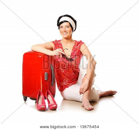Happy Woman Going On Holidays