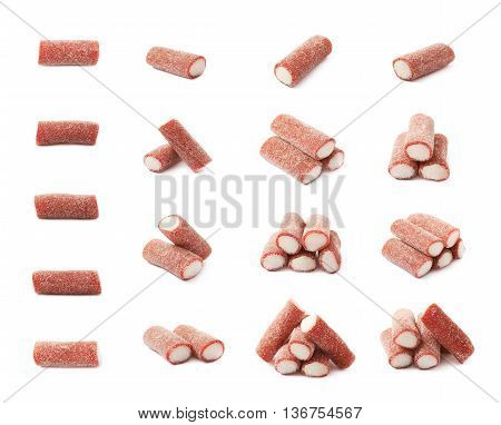Red and white licorice stick chewing candy isolated over the white background, set of multiple different foreshortenings