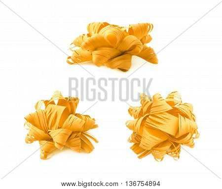 Decorational yellow ribbon gift bow isolated over the white background, set collection of three diffirent foreshortenings