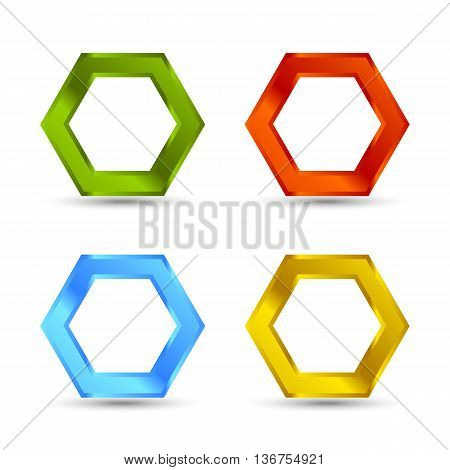 Different colors hexagon shape set with shadows