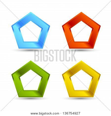 Different colors Pentagone shapes set with shadow