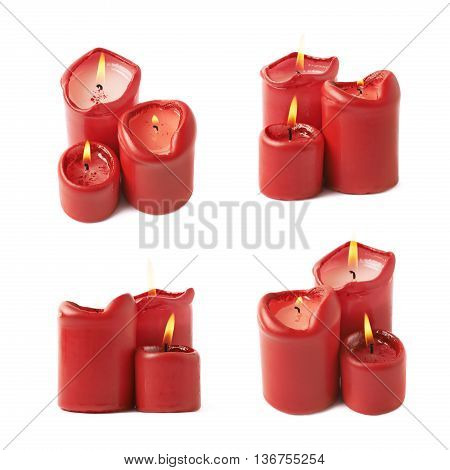 Three burning red candles isolated over the white background, set of four different foreshortenings