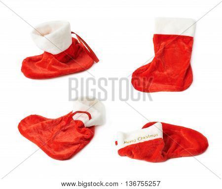 Christmas stocking as a sock shaped red bag, composition isolated over the white background, set of four different foreshortenings