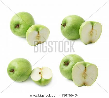 Green apple next to a slice, composition isolated over the white background, set of four different foreshortenings