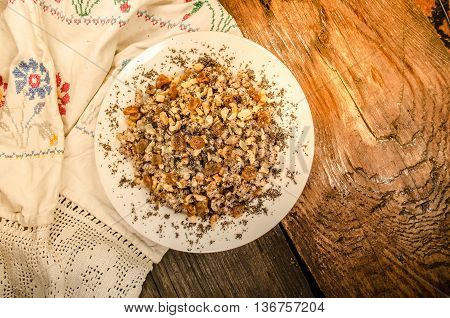 Sweet Wheat Kutia With Nuts, Poppy Seeds, Dried Fruits