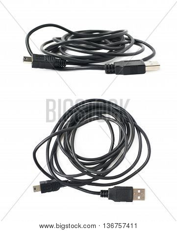 Folded USB to micro USB adapter cable isolated over the white background, set of two different foreshortenings