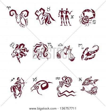 Twelve Zodiac icon. Horoscope Zodiac Star signs. Astrological Illustrations