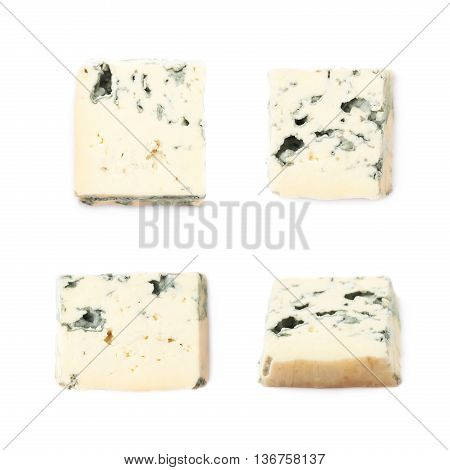 Single slice of a blue roquefort cheese isolated over the white background, set of four different foreshortenings