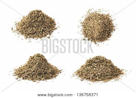 Pile of dried thyme seasoning isolated over the white background, set of four different foreshortenings
