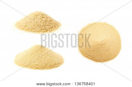 Pile of stevia cane sugar isolated over the white background, set of three different foreshortenings
