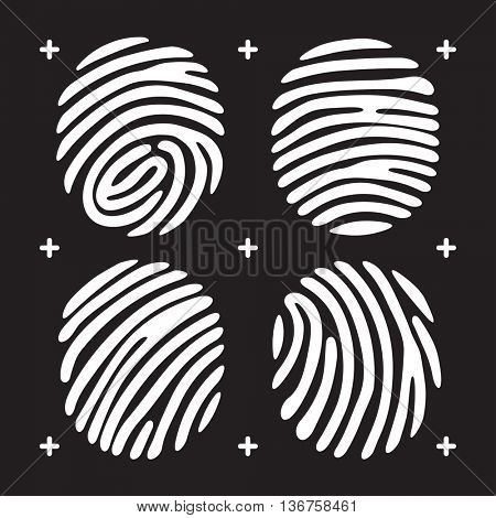 White fingerprint icon set. isolated on black background. Elements of identification systems, security conception, apps icons. illustration.