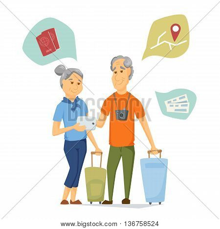 Seniors travel with suitcase and use tablet. Pensioners have a trip together. Old man and women look at computer map. Cartoon older traveller on vacation vector illustration. Elderly people character