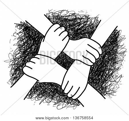 Business Teamwork, a hand drawn vector illustration of 4 hands interlocking with each other.