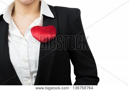 Businesswoman with red heart on left chest isolated on white background with clipping path.