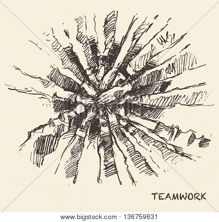 Hand drawn vector illustration of a people putting their hand on top of each other sketch. Teamwork collaboration concept. Vector illustration sketch