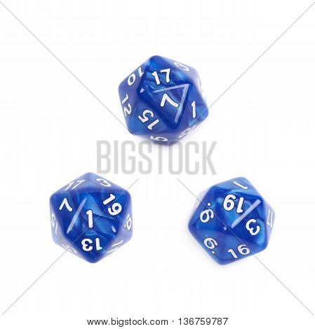 Blue roleplaying polyhedral icosahedron gaming plastic dice isolated over the white background, set of three different foreshortenings