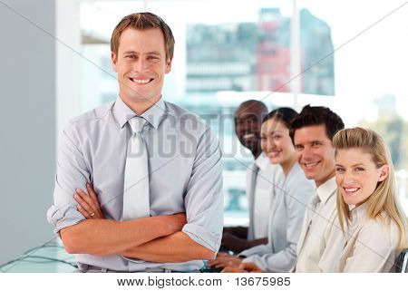 Young Happy Male Boss leading his team