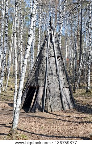 Irkutsk Region,ru-may,10 2015: Pole Chum - Portable Dwelling In A Conical Shape, Covered With Bark.