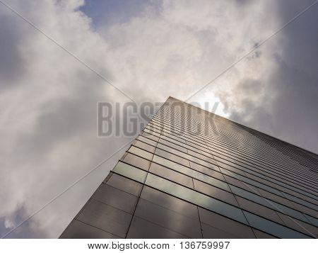 HONG KONG - JUL 02 2016: Skyscraper Building and Sky View Scene in Big City